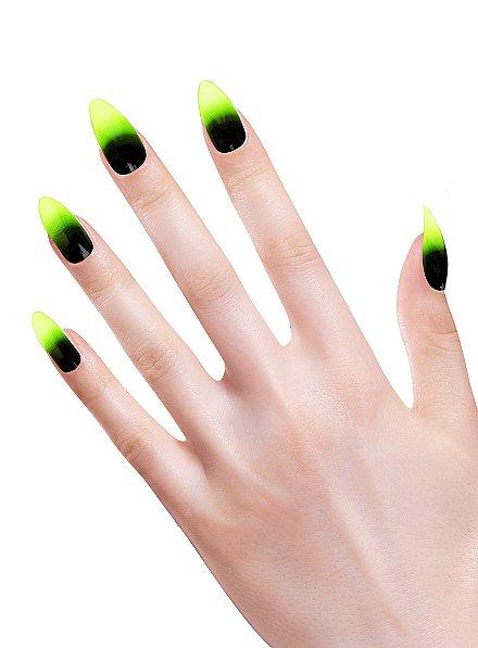 Stiletto fingernails toxic green