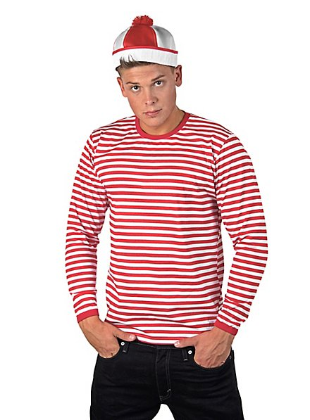 Striped Shirt long-sleeved, red-white