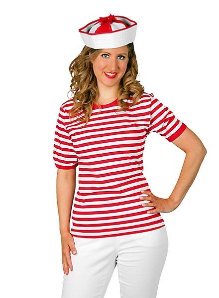 Striped Shirt short-sleeved, red-white