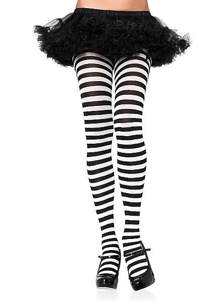 Striped stockings black-white