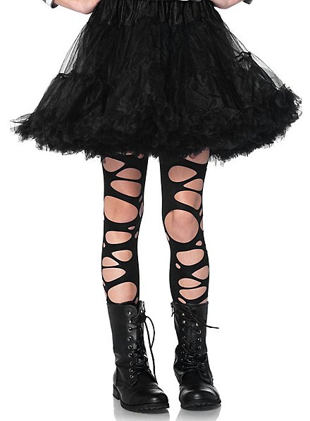 Torn fishnet tights for children black
