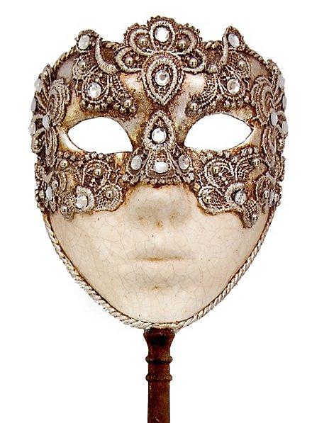 Volto macrame argento con bastone Venetian Mask