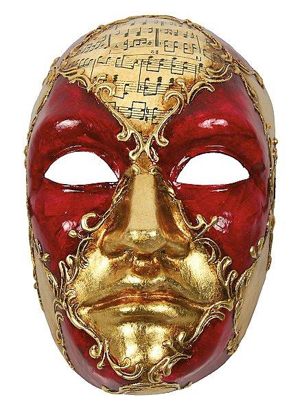 Volto Maschile schacchi rosso musica - Venezianische Maske
