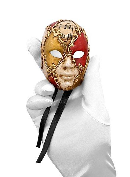Volto mini scacchi bianco oro rosso musica Venezianische Miniaturmaske