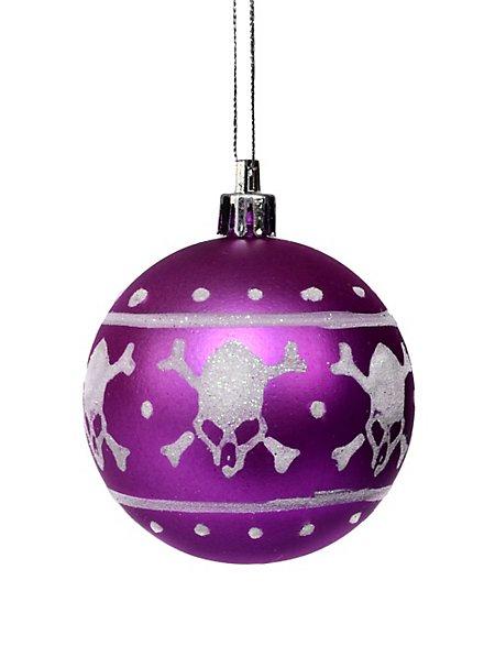 Weihnachtskugel Totenkopf pink