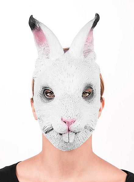 Weißes Kaninchen Halbmaske aus Latex