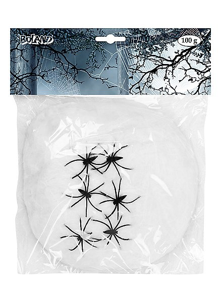 White cobwebs 100 g with spiders