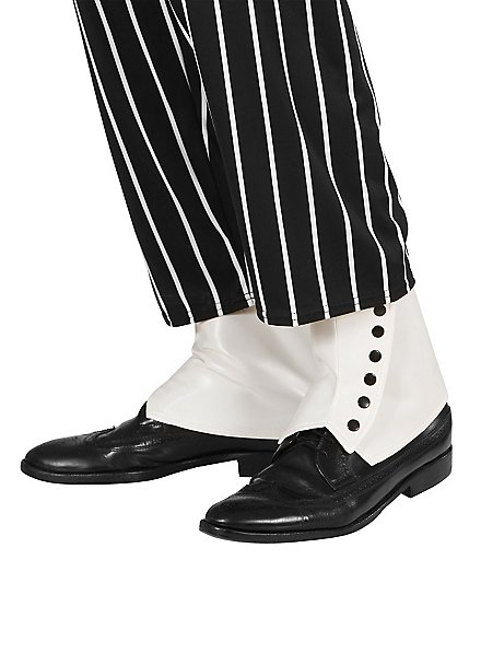 White gaiters with button facing