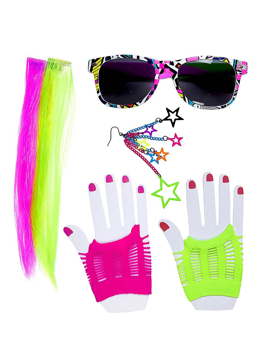 80er neon accessoire set for Accessoires 80er party