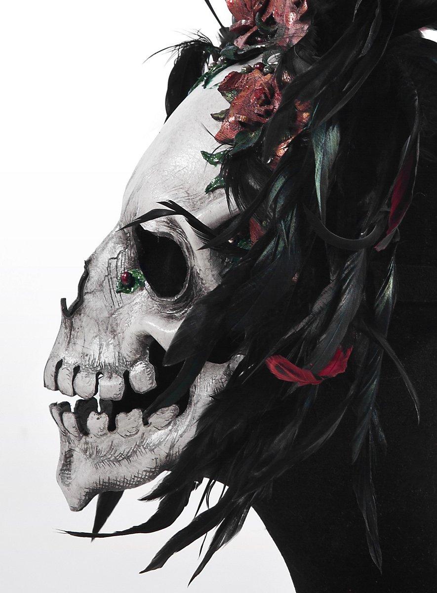 Day of the Dead Leather Half Mask - maskworld.com
