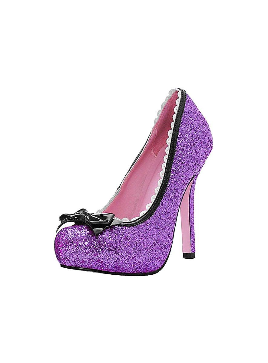 glitzer high heels lila sexy pumps. Black Bedroom Furniture Sets. Home Design Ideas