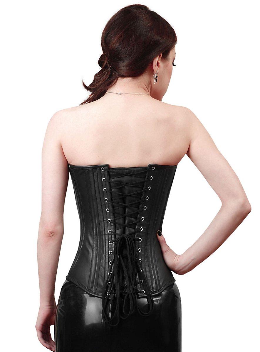 Overbust Corset Leather black - maskworld.com