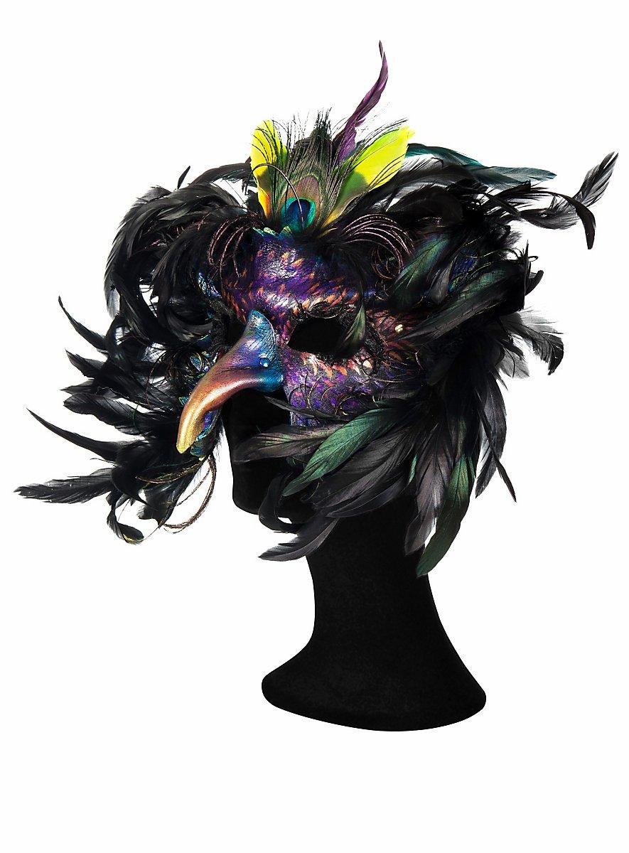 Royal Peacock Leather Half Mask Maskworld Com