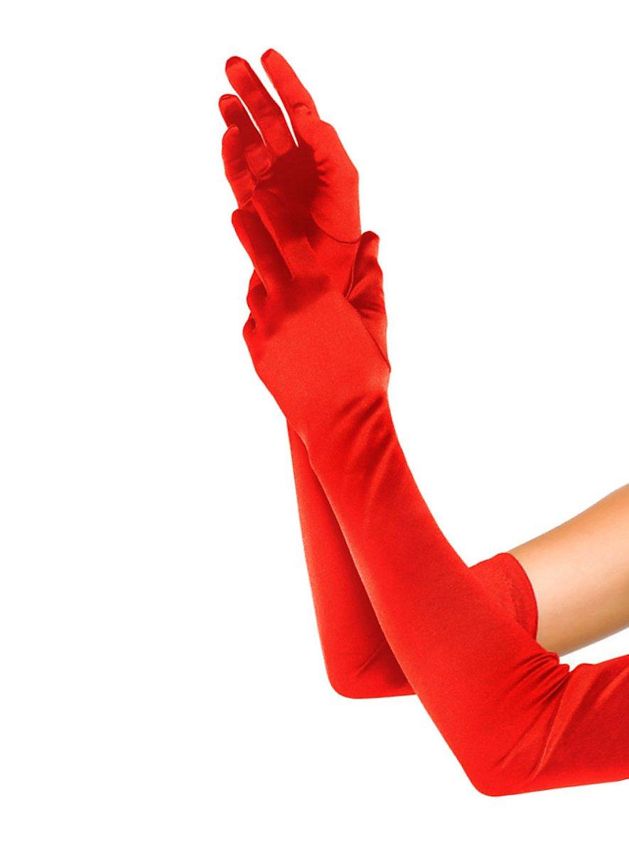 Satin Gloves extra long red - maskworld.com