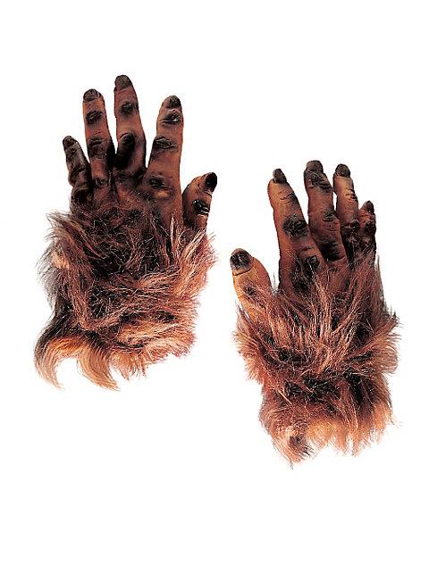Behaarte Monsterhände braun aus Latex