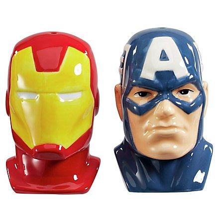 Avengers - Salz- und Pfefferstreuer: Captain America & Iron Man Büsten