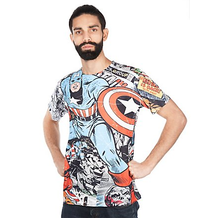 Captain America T-Shirt Comic Allover