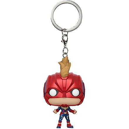 Captain Marvel - Captain Marvel mit Helm Pocket POP! Bobble-Head Schlüsselanhänger