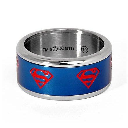 Superman Logo Ring rotierend blau
