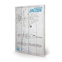 Star Wars 7 - Holz-Print Millennium Falke Plan