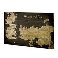Game of Thrones - Holz-Print Westeros und Essos Antike Karte
