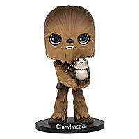 Star Wars 8 - Chewbacca mit Porg Wobbler Figur
