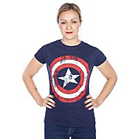 Captain America - Girlie Shirt Distressed Shield