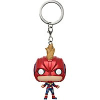 Captain Marvel - Captain Marvel mit Helm Pocket POP! Bobble-Head Schlüsselanhänger