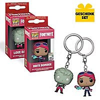 Fortnite - Gift Set of British Bomber & Love Ranger Funko Pocket POP! key chains
