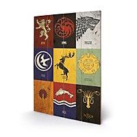 Game of Thrones - Holz-Print Häuser von Westeros
