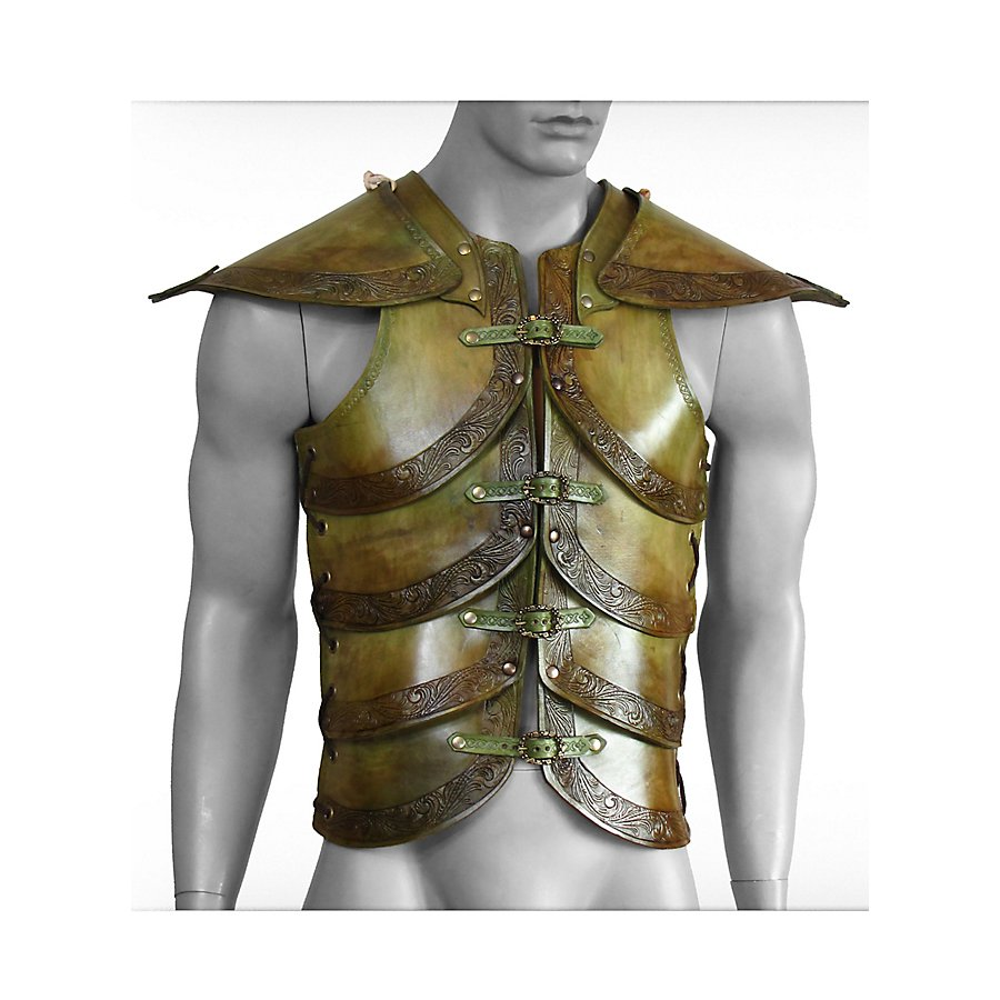 Lederrüstung mit Schultern - Elfenharnisch, dun...