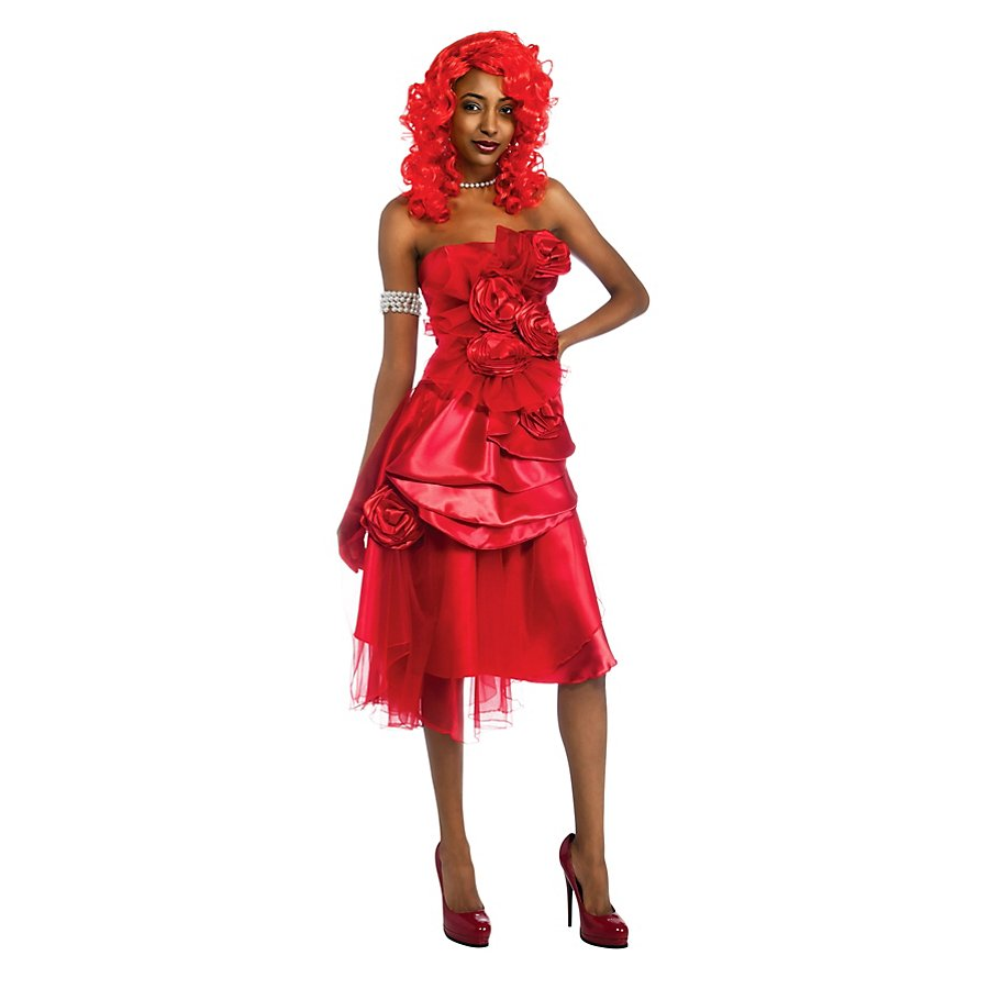 Rihanna Bandeaukleid rot Kostüm inkl. Perücke
