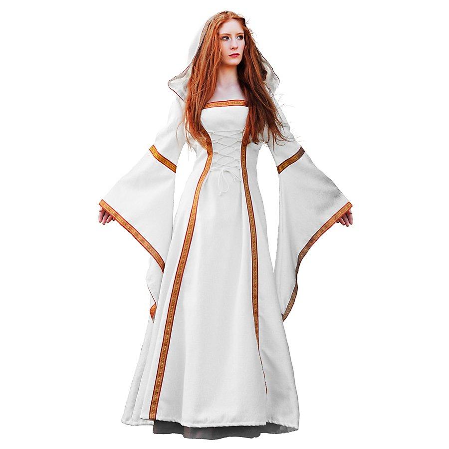 Mittelalterliches Hofkleid weiß Kostüm