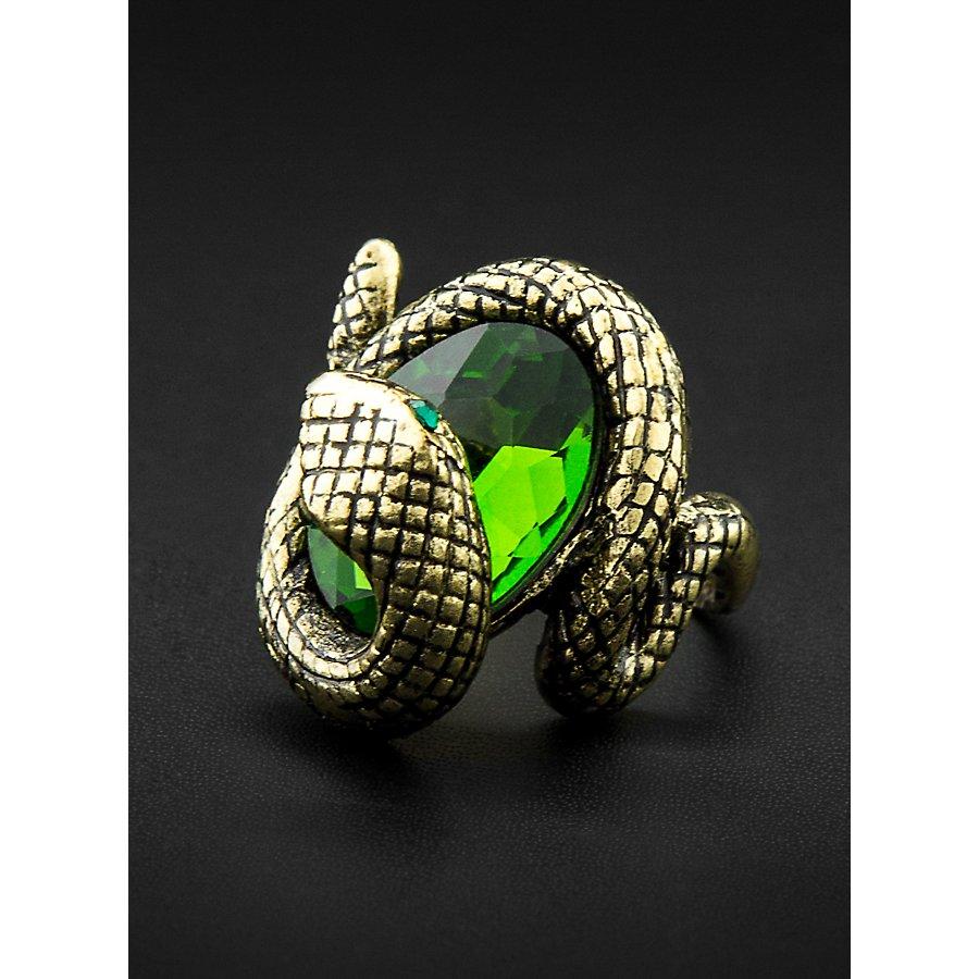 Schlangenring mit grünem Zierstein