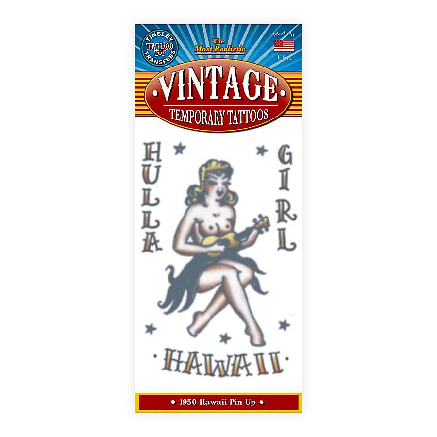 Hula Girl Vintage Klebe-Tattoo