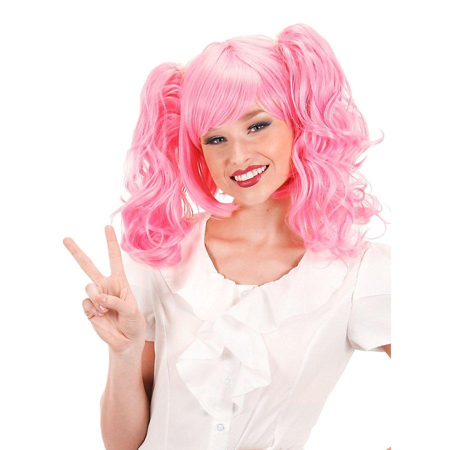 Anime Perücke mit Zopf-Clips pink