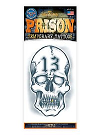 13 Skull Temporary Prison Tattoo