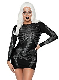 Skeleton rhinestone dress black