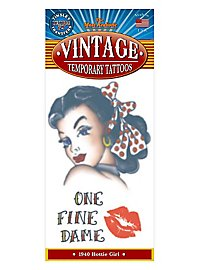 1940 Hottie Girl Temporary Tattoo