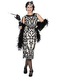 20er Jahre Abendkleid creme-schwarz