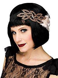 20er Jahre Feder-Haarband schwarz-beige