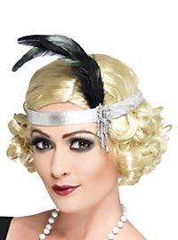 20er Jahre Stirnband silber mit Federn