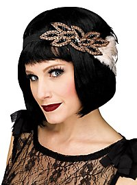 20's feather hairband black-beige