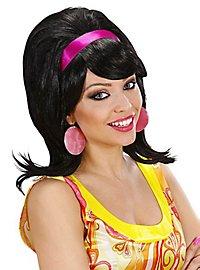 60's ladies wig backcombed black