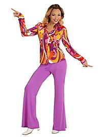 70er Jahre Bluse Orchideen