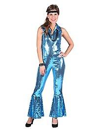 70s sequins jumpsuit blue