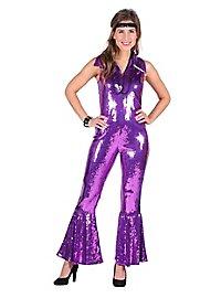 70s sequins jumpsuit purple