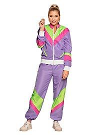 80er Jahre Trainingsanzug lila für Frauen
