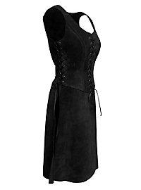 Abenteurerin Waffenrock aus Leder schwarz