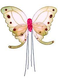 Ailes de papillon roses et vertes